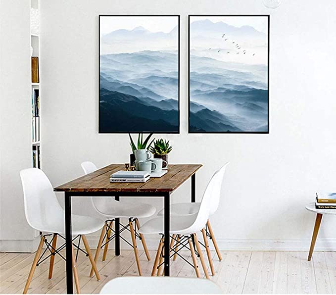 Amazon.com: Be fearless Foggy Mountain Landscape Wall Art ...