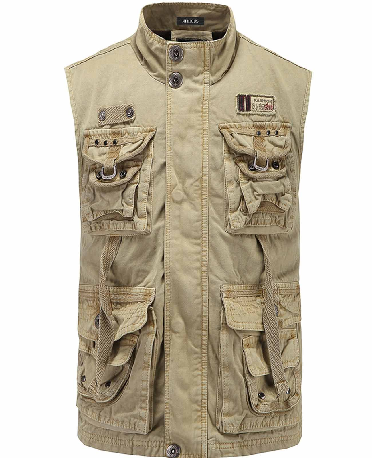 Nidicus Men Casual Work Utility Hunting Travels Sports Vest With Multi Pockets Khaki L