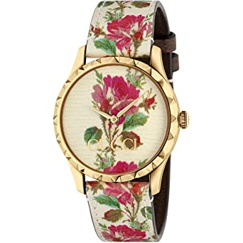 99dac0962a8 Amazon.com  Gucci G-Timeless Gold Pink Bloom Leather Ladies Watch ...
