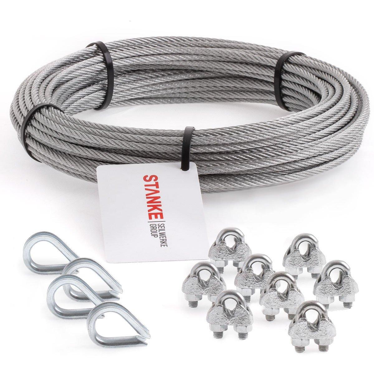 Seilwerk STANKE Rankhilfe Drahtseil verzinkt 20m Stahlseil 6mm 6x7, 4x Kausche, 8x Bü gelformklemme - SET 2