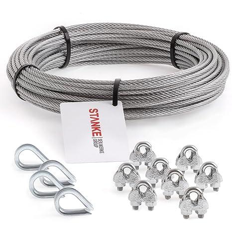SET 2 Seilwerk STANKE Rankhilfe Drahtseil verzinkt 100m Stahlseil 3mm 6x7 8x B/ügelformklemme 4x Kausche