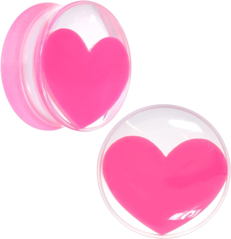1 Piece 20mm Body Candy Clear Acrylic Optical Illusion Saddle Ear Gauge Plug