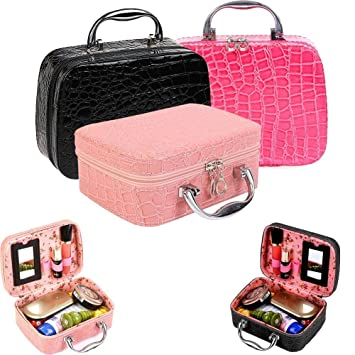 c28837ee9c MagnusDeal Makeup Boxes Cosmetic Bag Admission Package Jewelry Cases  Necklace Storage Box Korean Cosmetics Pouch Handbag Travel Train Cases   Amazon.in  Home ...