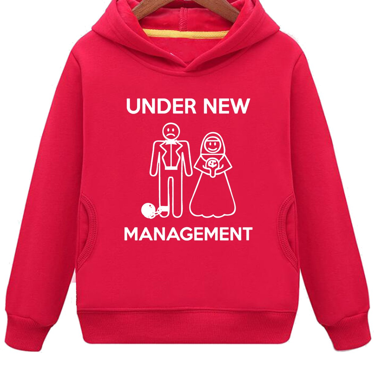 Mustang Kids Under New Management Funny Wedding Gift Hoodie with Side Pockets (R,M)