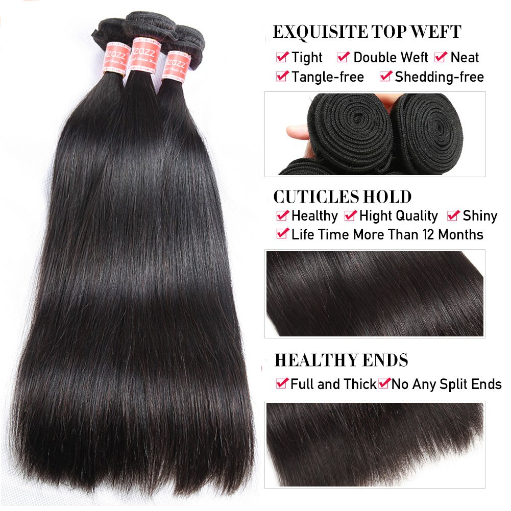 Pizazz 8A Brazilian Straight Hair 16 18 20 and 14 inch Lace Frontal Closure with Bundles Natural Black Straight Human Hair Weave 3 Bundles With Closure by Pizazz (Image #4)