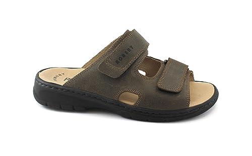 ROBERT 03010 Zapatillas Sandalias Marrones Hombre Tira de Cuero Comodidad 46: Amazon.es: Zapatos y complementos