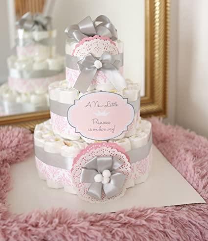 Amazon 3 tier baby girl damask pink gray diaper cake baby 3 tier baby girl damask pink gray diaper cake baby shower centerpiece decoration mightylinksfo