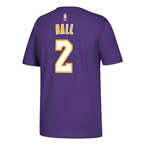 Image Unavailable. Image not available for. Color  adidas Lonzo Ball Los  Angeles Lakers Purple Name and Number T-Shirt Small 3b70f7eeb