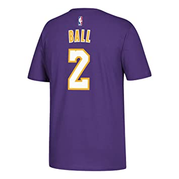 Lonzo Ball Los Angeles Lakers Purple Name and Number T-shirt Small