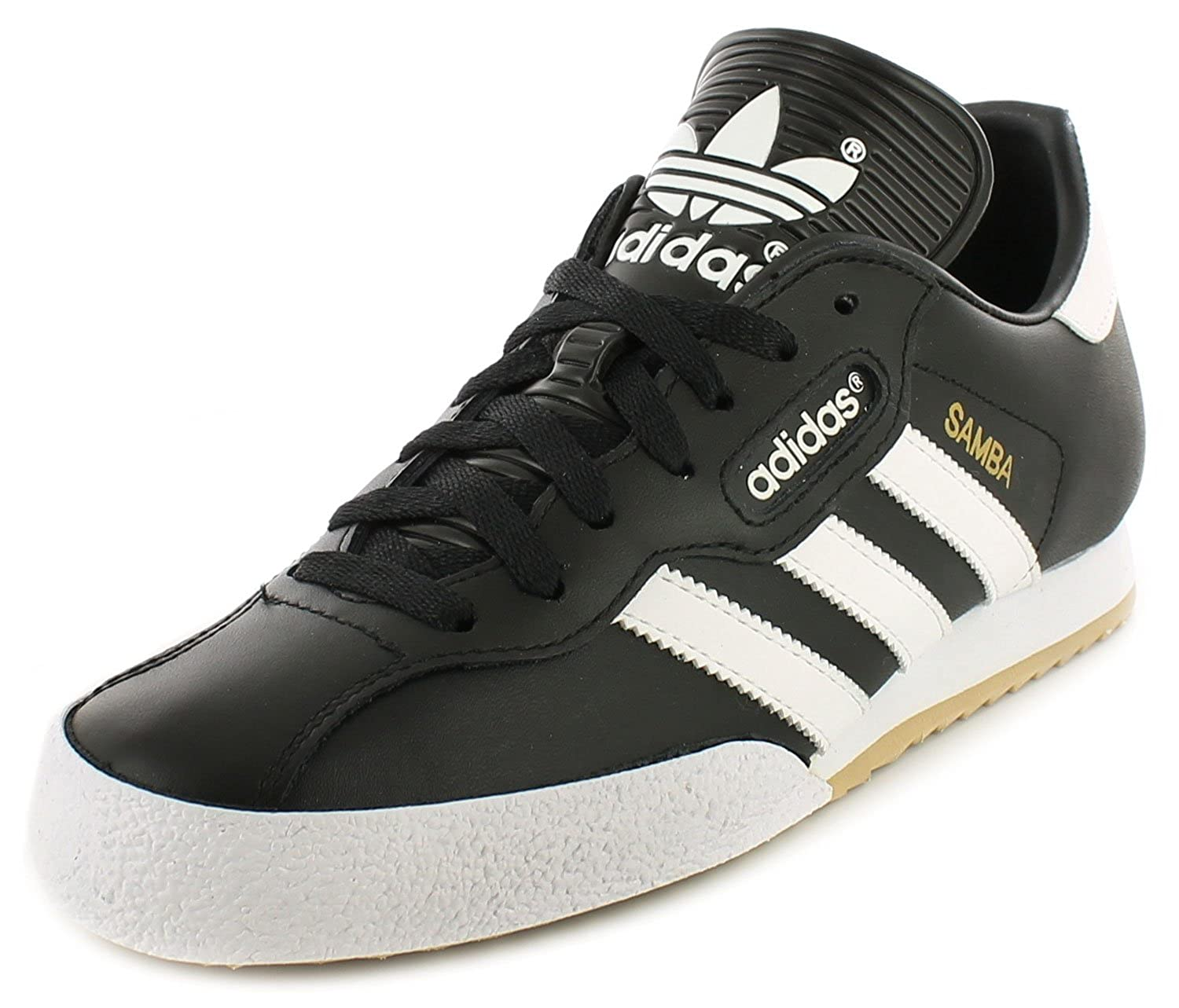 sale retailer 5574e 749d5 adidas Samba Super Black Textile Leather Indoor Soccer Shoes Trainers -  Black White - UK SIZES 6-12  Amazon.co.uk  Shoes   Bags