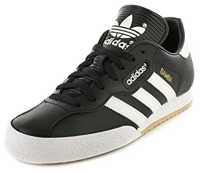 0c1b4df9e3d9f9 adidas Samba Super Black Textile Leather Indoor Soccer Shoes Trainers -  Black White - UK