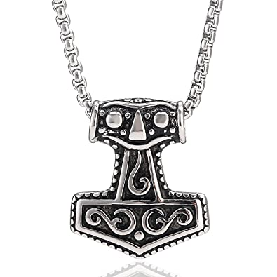 DonDon reg  Collier pour homme en acier inoxydable Avec pendentif en forme  de marteau de 719989cb50a2