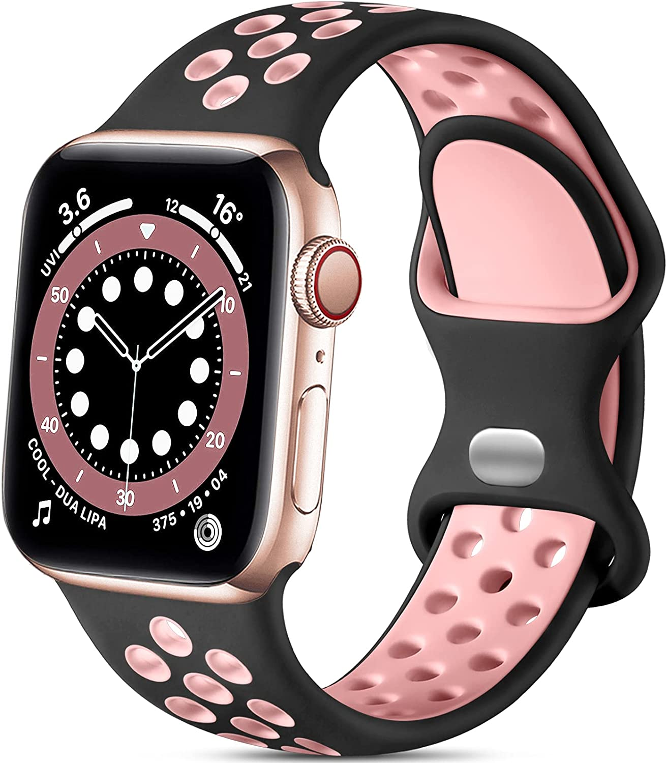 Lerobo Compatible with Apple Watch Bands 40mm 38mm for Women Men, Soft Silicone Sport Bands Replacement Wristbands Compatible for iWatch SE & Series 6 5 4 3 2 1, Sport Edition, Black/Pink, S/M