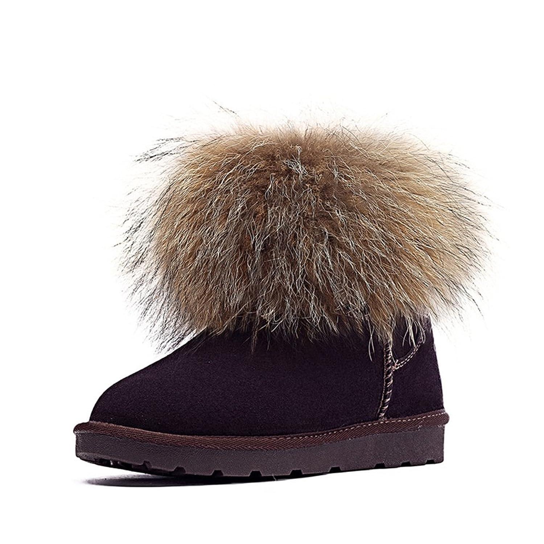 Jianda Women Fox Feather Cotton Warm Leather Snow Boots