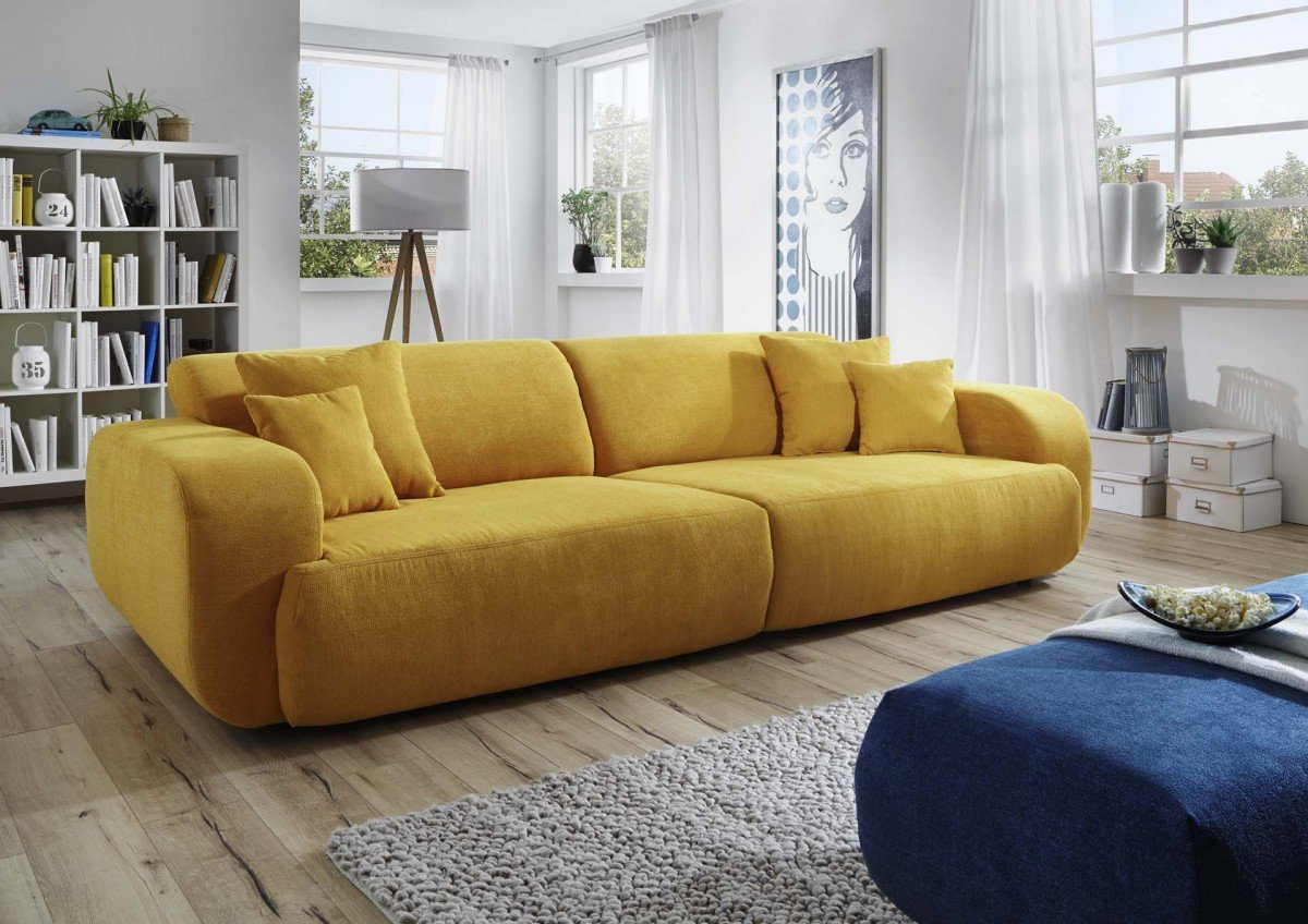 Dreams4Home Big Sofa Polstersofa 'Miley', Sofa, Wohnzimmer, gelb, Couch, Hocker blau optional, Hocker:ohne Hocker