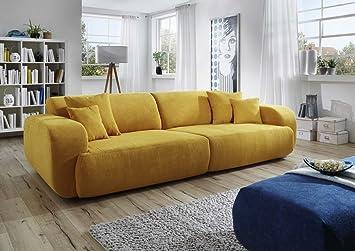 Dreams4Home Big Sofa Polstersofa U0027Mileyu0027, Sofa, Wohnzimmer, Gelb, Couch,