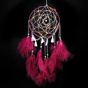 Nice Dream LED Dream Catcher, Handmade Dream Catchers for Bedroom Wall Hanging Home Decor Ornaments Craft (Burgundy)