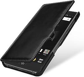 StilGut Book Type Case, Custodia per Blackberry Motion a Libro Booklet in Vera Pelle, Nero Nappa con Clip