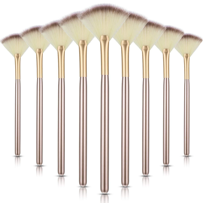 9 Pieces Soft Facial Makeup Brush Facial Powder Cosmetics Brushes Wooden Handle and Soft Fiber Face Fan Shape Brushes Makeup Brushes Cosmetic Tool for Face Highlighting Makeup Powder: Beauty