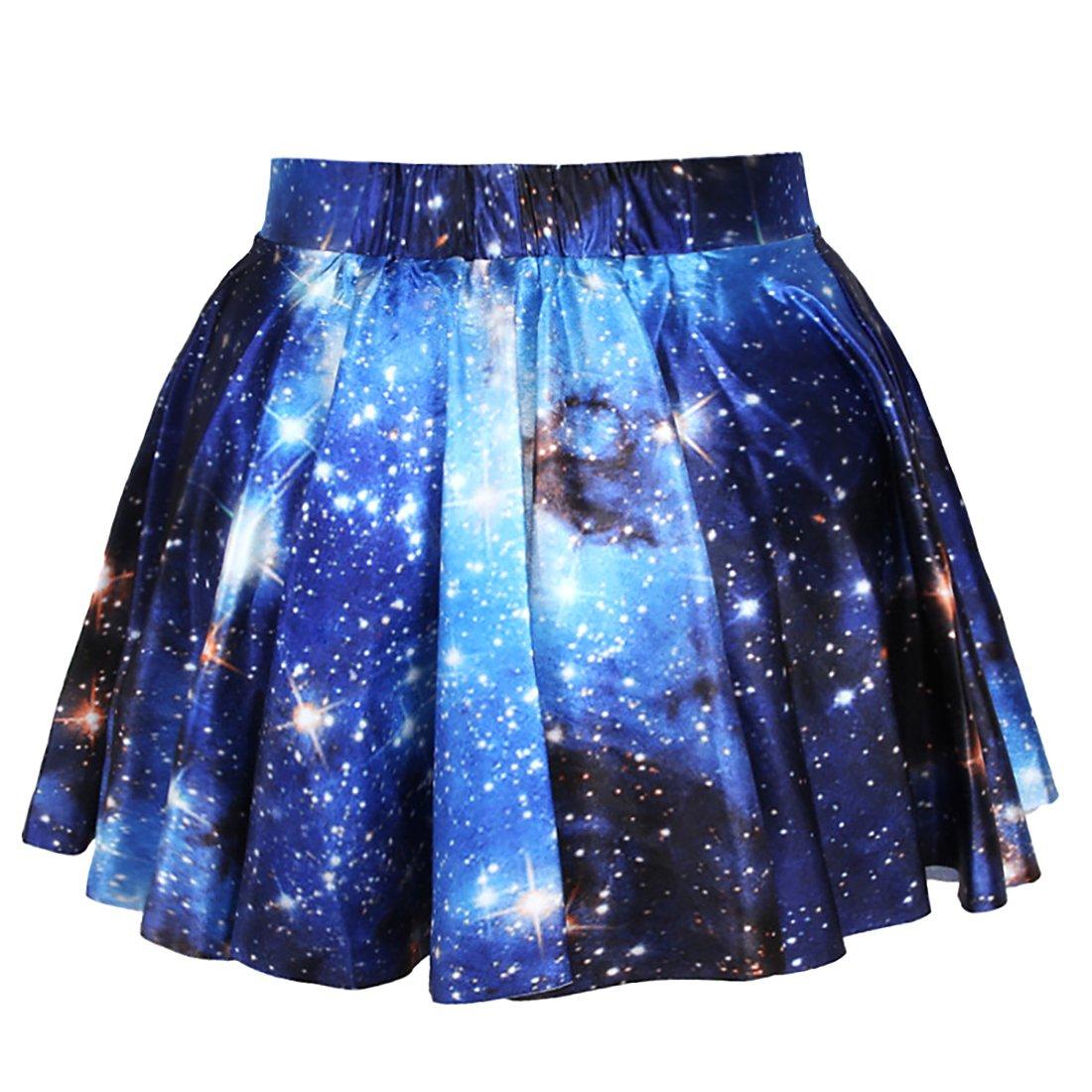 Women 3D Galaxy Print Stretchy Flared Pleated High Waist Skirt Casual Mini Skirt 3D Galax Mini Skirts Puedo