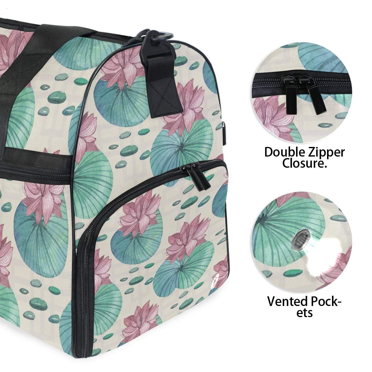 Vacation Gym Travel Duffel Bag Pink Lotus Waterproof Lightweight Luggage bag for Sports