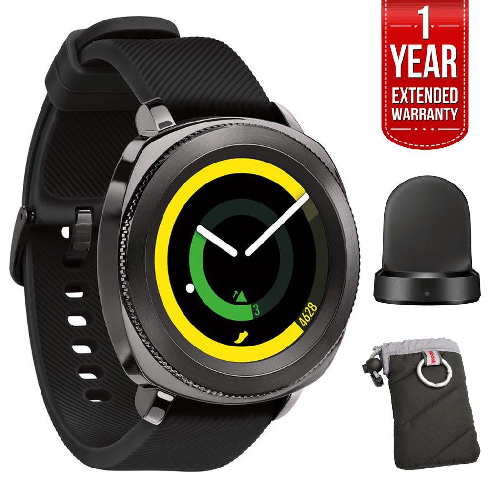 Samsung Gear Sport Fitness Watch - Black (SM-R600NZKAXAR) + 1 Year Extended Warranty + QI Wireless Charging Base Dock Cradle Charger + Kodak Gear Black Jacket Case w/ Carabiner by Beach Camera