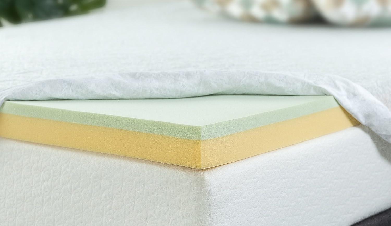 Zinus - Colchón de Espuma viscoelástica Verde, 5 cm, 3 Inch, Matrimonio: Amazon.es: Hogar