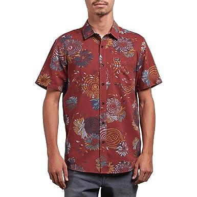 8de22bd3eb13 Amazon.com: Volcom Men's Stoney Delusion Woven Button Up Short Sleeve Shirt:  Clothing