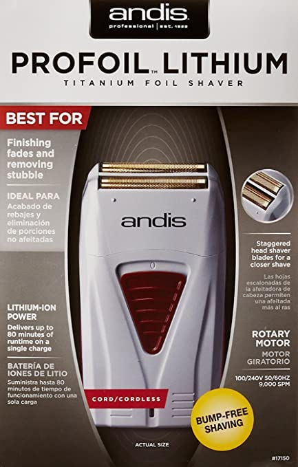 8872cb4b4 Amazon.com: Andis ProFoil Lithium Titanium Foil Shaver with Blade Brush,  Classic Barber Beard Shaper Tool: Beauty