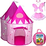 5-Piece Princess Castle Girls Pop Up Play Tent & Dress Up Costume Bundle - Playhouse Gift for Girls & Toddler for Indoor…