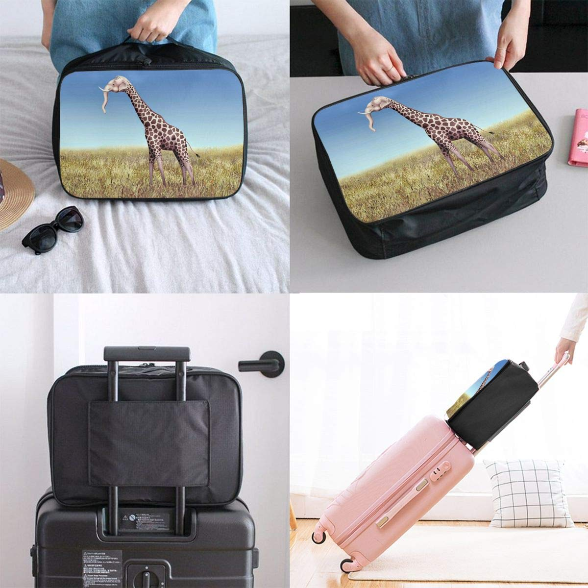 Travel Luggage Duffle Bag Lightweight Portable Handbag Funny Elephant Giraffe Print Large Capacity Waterproof Foldable Storage Tote