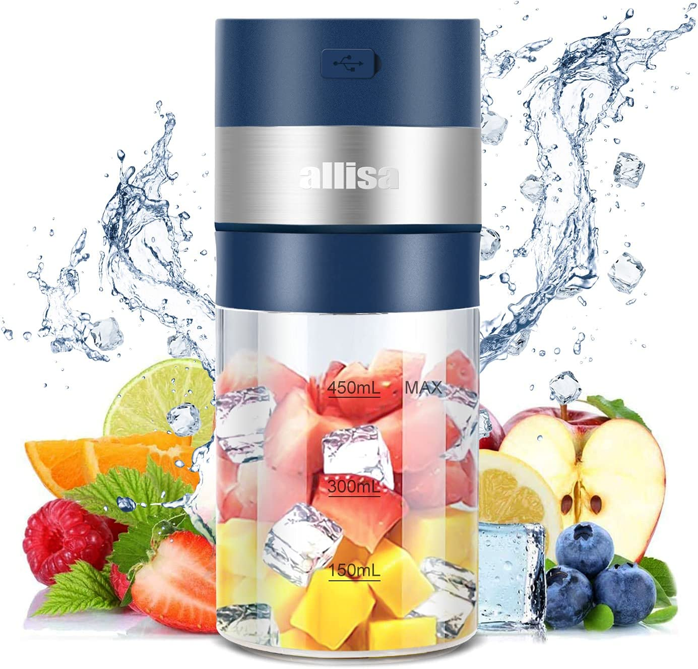 allisa Portable Blender for Shakes Protein Fruit Smoothies Personal Mini Small Electric Blender Mixer Usb Rechargeable 85 W Mini Blender with 6 Blades 450ML (Navy Blue)