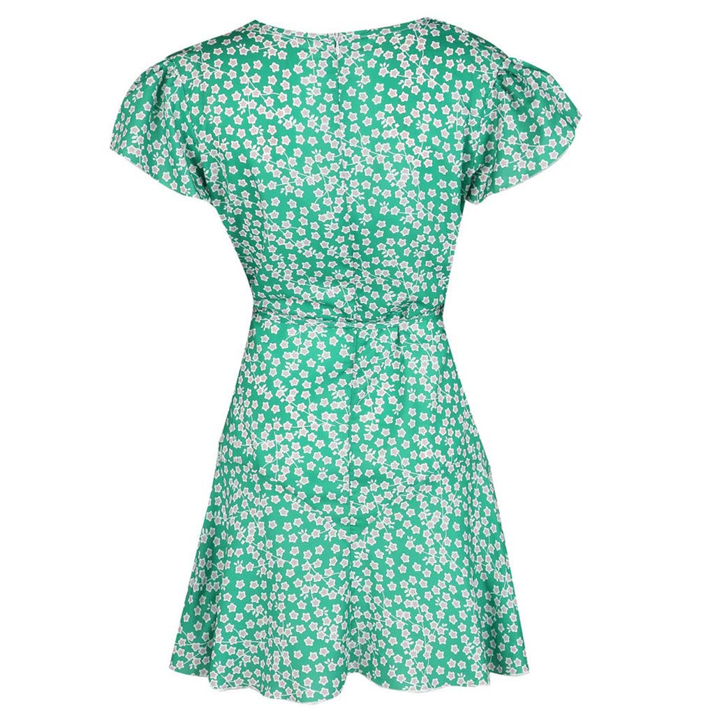 Uscharm Womens V-neck Dress Holiday Summer Floral Print Short Sleeve Front Knot Party Mini Beach Dress