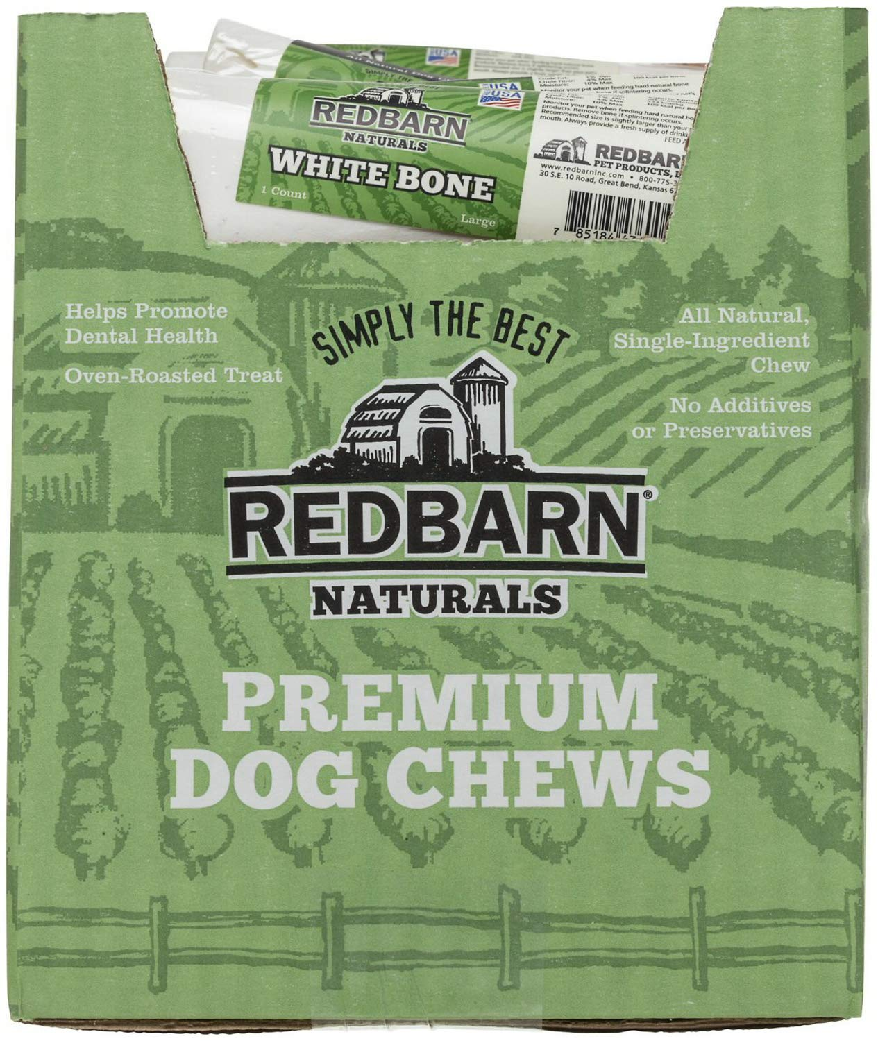 REDBARN White Bone for Dogs, Large, Naturals, 25 Count