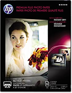 HP CR664A Premium Plus Photo Paper, 80 lbs, Glossy, 8-1/2 x 11, 50 Sheets/Pack