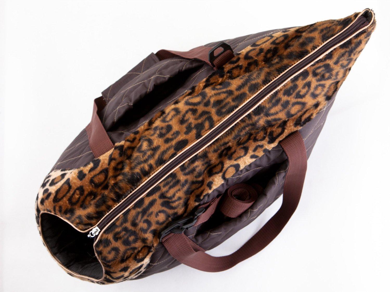 Borsa da Trasporto per Cani e Gatti Taglia 1 Hobbydog Colore: Marrone con Design Ghepardo