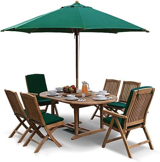 Lorenzo citoqueratina prorroga jardín mesa y unas sillas Set - 2 butacas reclinadoras/teca 4 sillas laterales verdes cojines, sombrilla y base de jardín -, calidad y valor: Amazon.es: Jardín