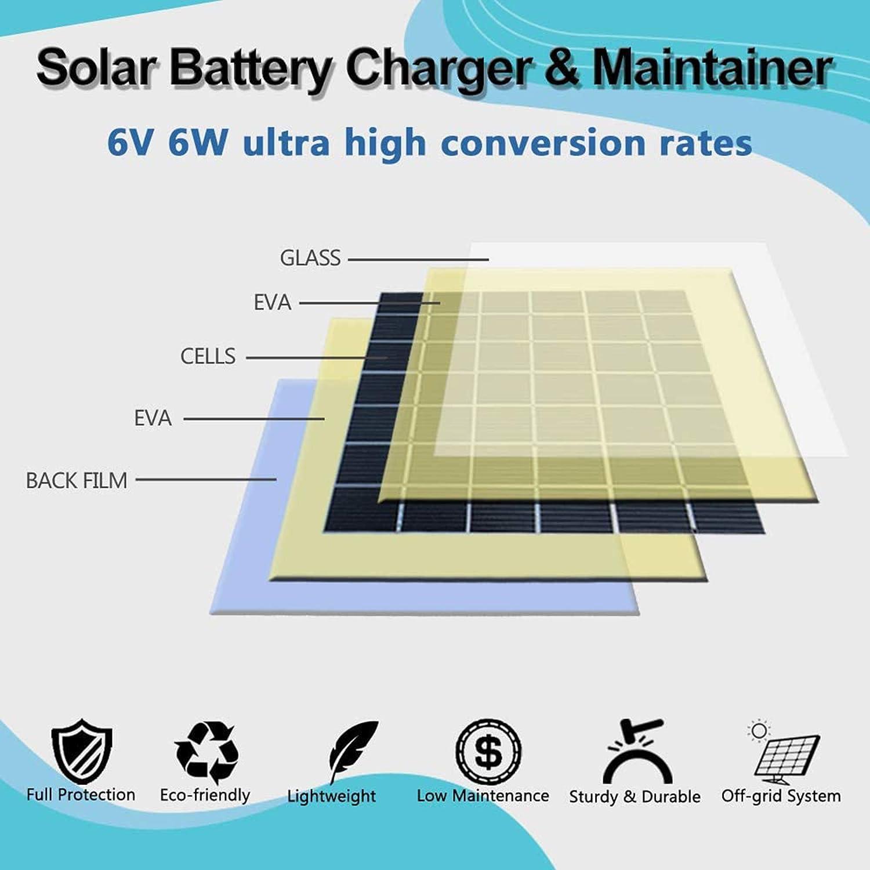 POWOXI Solar Panel 6V 6W Deer Feeder Solar Battery Charger Maintainer Built-in Intelligent Controller Waterproof Solar Trickle Charger Adjustable Mount Bracket Alligator Clip