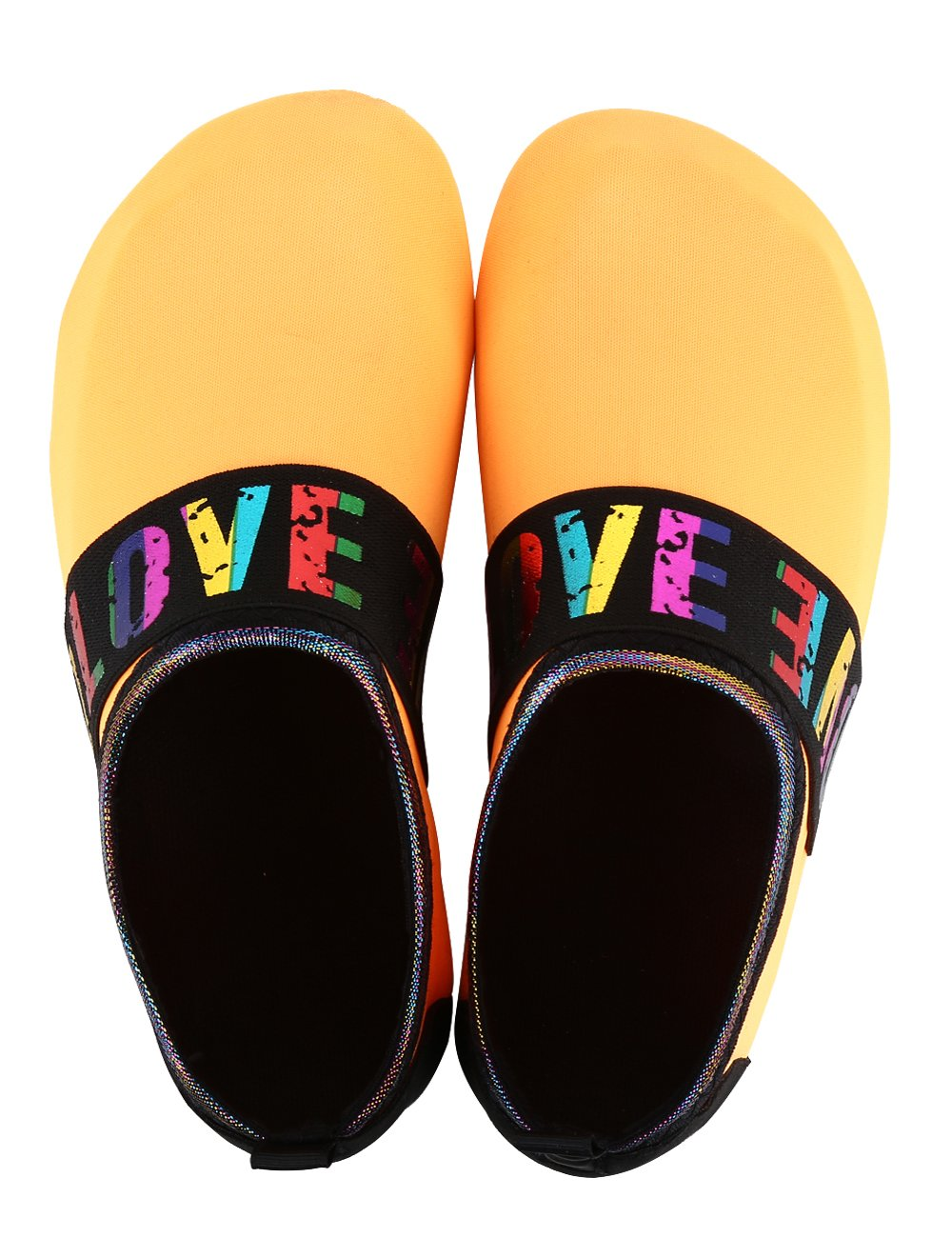 MANYITE Lightweight Water Sports Shoes Anti-Slip Sole Multifunctional Comfortable for Women Men Exercise (EU40/41, Orange-Colorful Love)