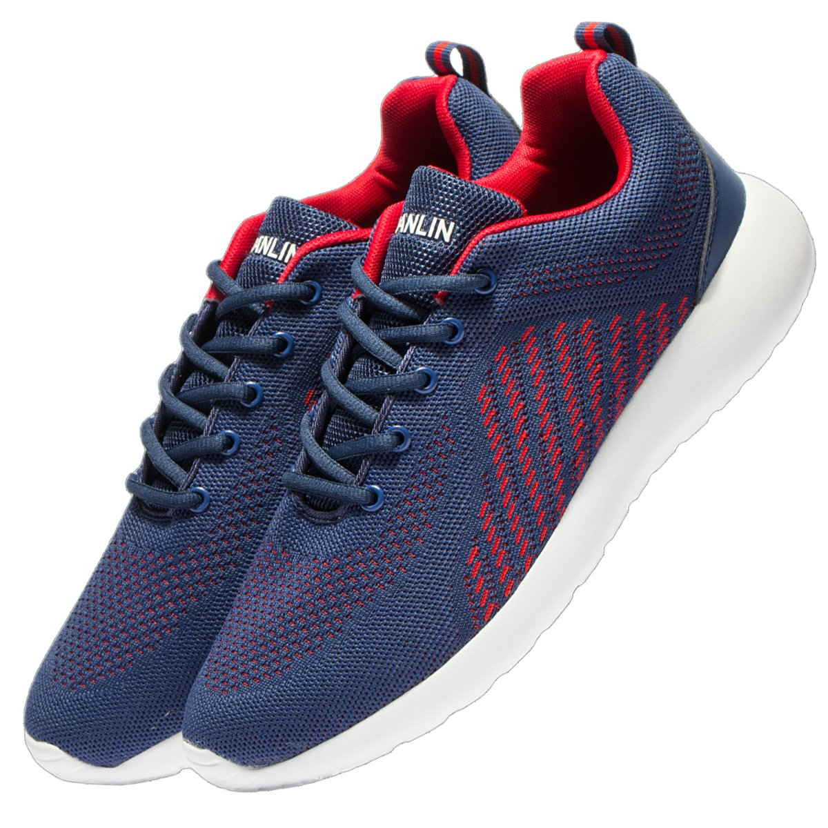 VSDANLIN Men's Breathable Knit Running Shoes Lightweight Athletic Shoes Outdoor Sneakers (47 M EU/13 D(M) US, Blue/Red) by VSDANLIN