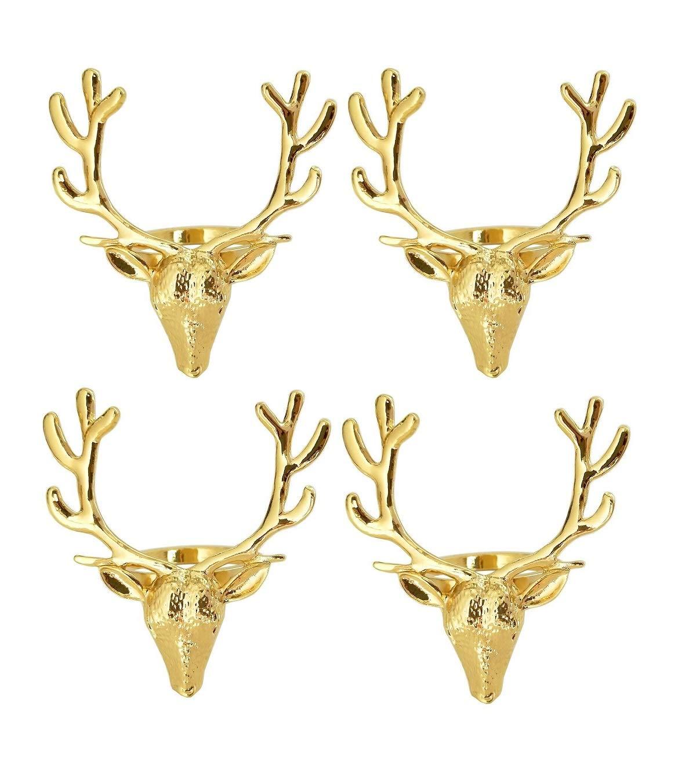 Yalulu 4個セット 金属製鹿の角ナプキンリング ナプキンホルダー テーブル装飾 クリスマス ウェディング 宴会 感謝祭 ディナー装飾 メタルスタグナプキンリング ゴールド  ゴールド B07K1ZHBPP