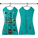 KRIO Designs Aqua Green Color Jewelery Organizer Hanging Dress, Jewelry Bag Double Sided to prevent tangles and scratches.