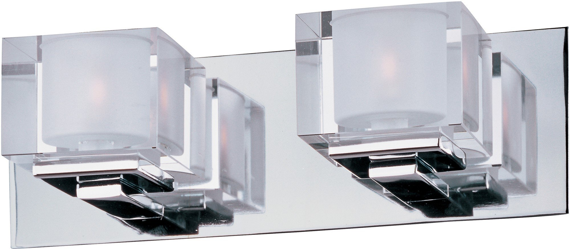 Maxim 10002CLPC Cubic 2-Light Bath Vanity, Polished Chrome Finish, Clear Glass, G9 Xenon Xenon Bulb , 100W Max., Damp Safety Rating, Standard Dimmable, Glass Shade Material, 1150 Rated Lumens