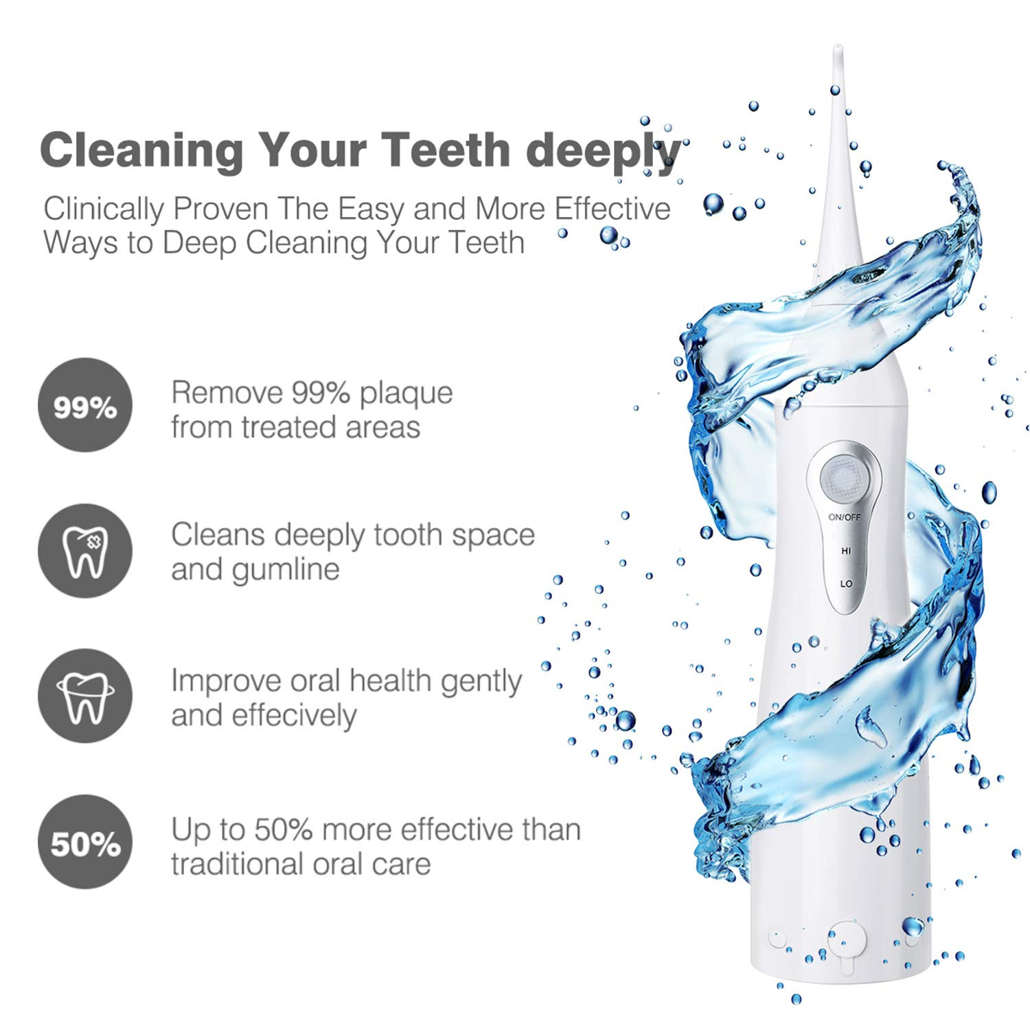 Cordless Water Flosser Oral Irrigator, Power Dental Flosser Portable Water Flosser for Teeth Cleaner with Replacement Tips for Travel and Home