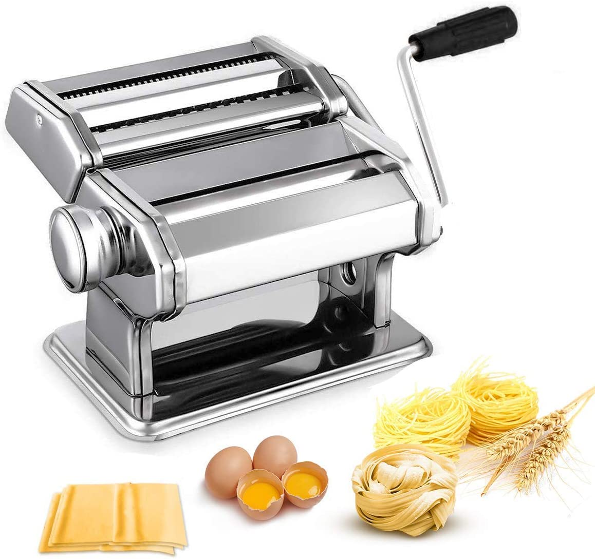 Amazon Com Pasta Maker Machine Noeler Pasta Crank Stainless Steel Pasta Roller Machine Manual Noodle Maker Pasta Cutters With 2 Blades Make Fresh Spaghetti Or Fettuccini Kitchen Dining