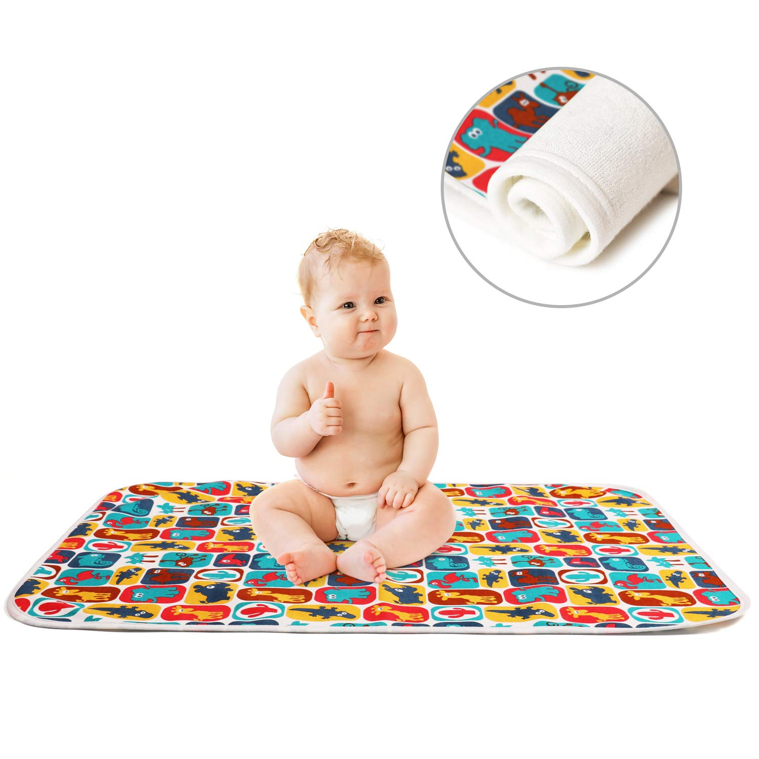 Printed Changing Baby Diaper Pad, Waterproof Pad Baby, Mifiatin Soft Urine Pads Absorbent Blanket Sheet Bed Pads Washable Mattress Change Mat Incontinence Pads for Infant and Adults - Zoo(70x50cm)