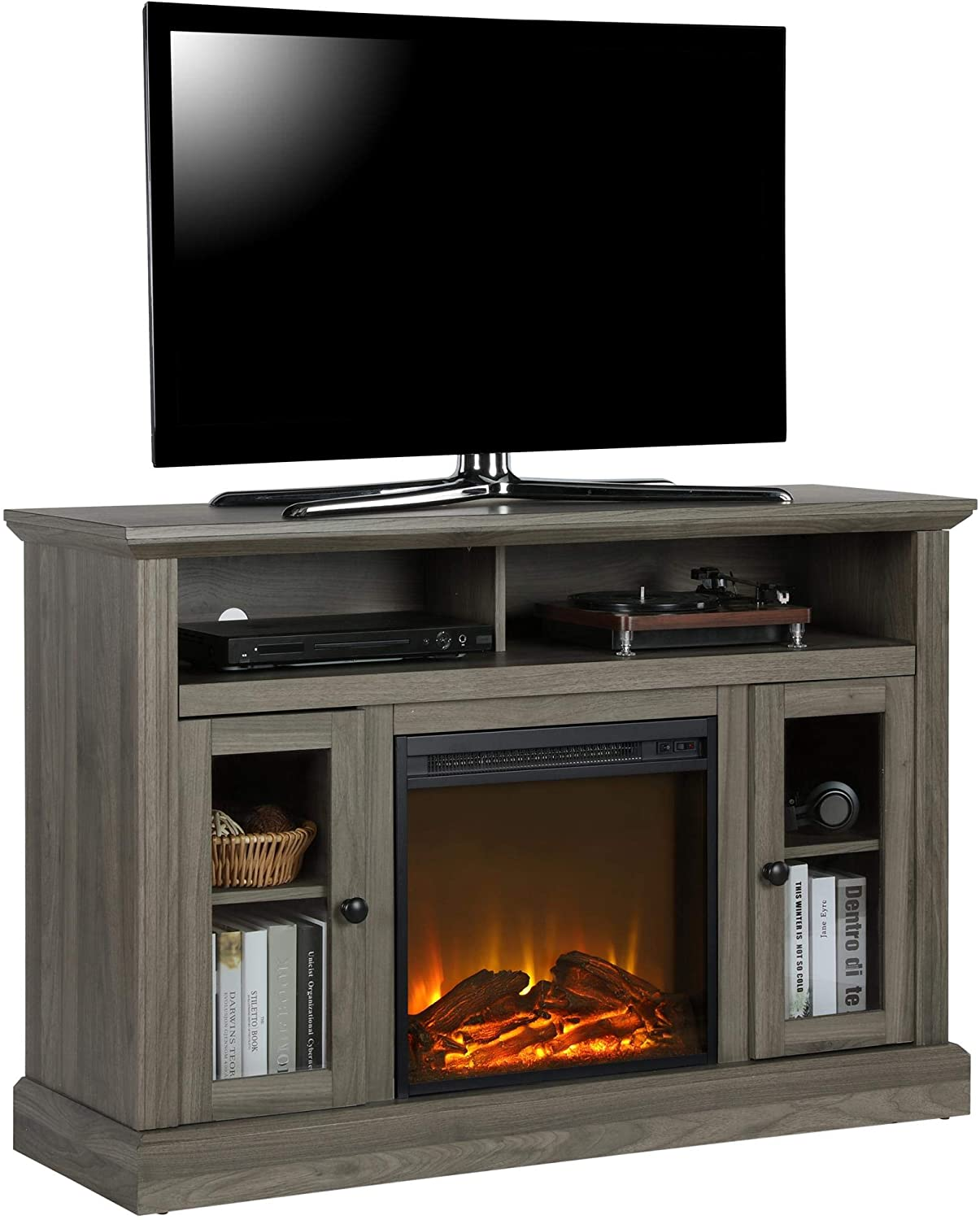 Amazon Com Ameriwood Home Chicago Tv Stand With Fireplace Rustic Gray Furniture Decor