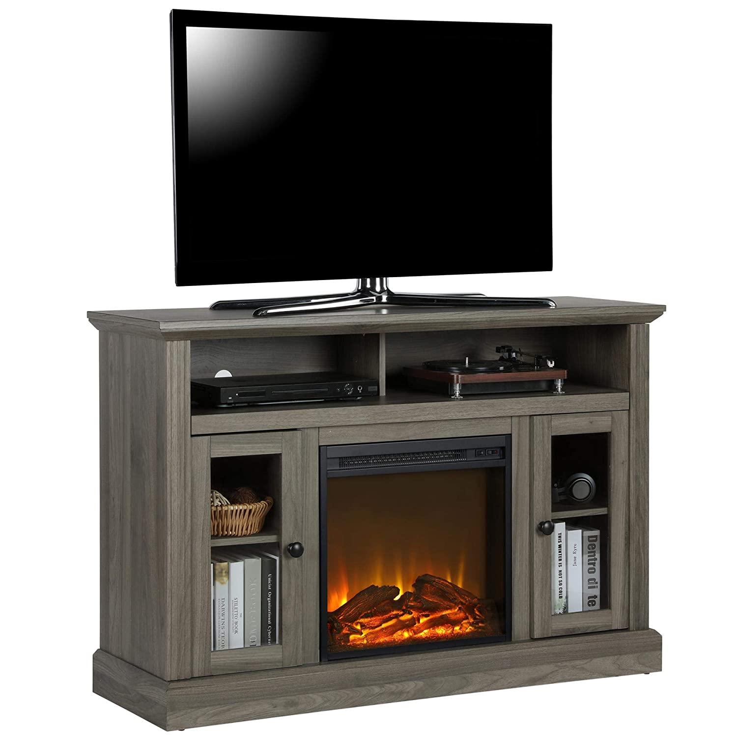 Swell Ameriwood Home 1764895Com Chicago Tv Stand With Fireplace Rustic Gray Download Free Architecture Designs Estepponolmadebymaigaardcom
