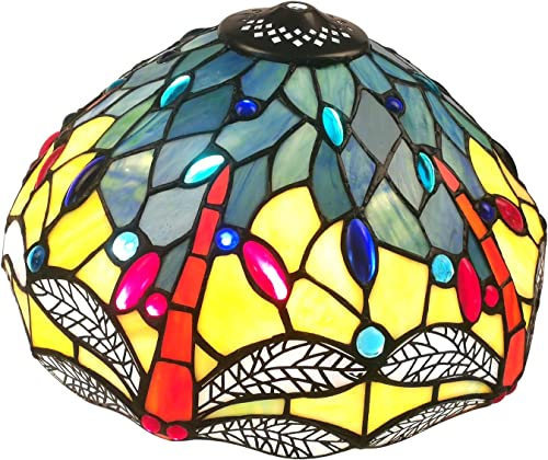 NOSHY SH-043 Premium Tiffany Style Dragonfly Stained Glass Replacement Lampshades, 12-Inch Diamater, Exclusion Accessories, Pack of 1
