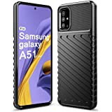 Sucnakp Samsung Galaxy A51 Case Heavy Duty Shock Absorption Phone Cases Impact Resistant Protective Cover for Samsung Galaxy A51(LT Black)